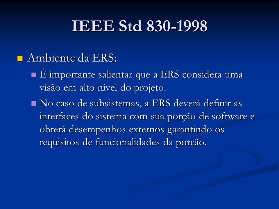 IEEE Std 830-1998 Ambiente da ERS: Ambiente da ERS: É importante salientar que a ERS considera uma visão em alto nível do projeto.