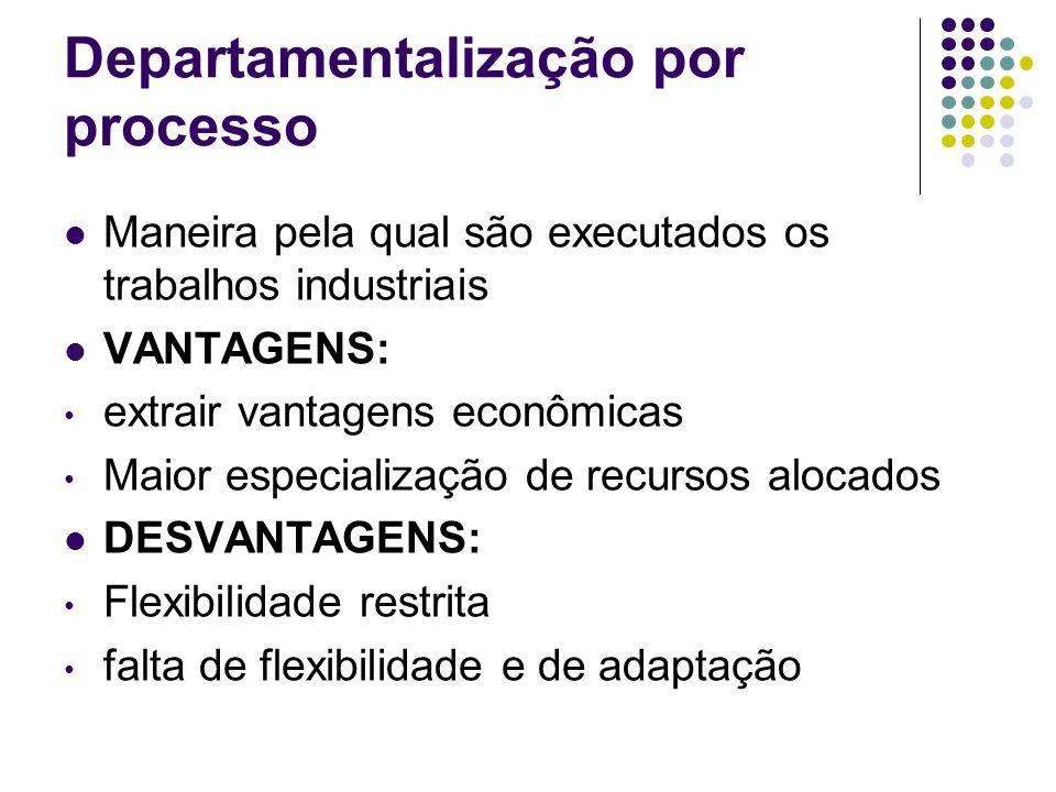 Departamentalização por processo Maneira pela qual são executados os trabalhos industriais VANTAGENS: extrair vantagens econômicas Maior especializaçã