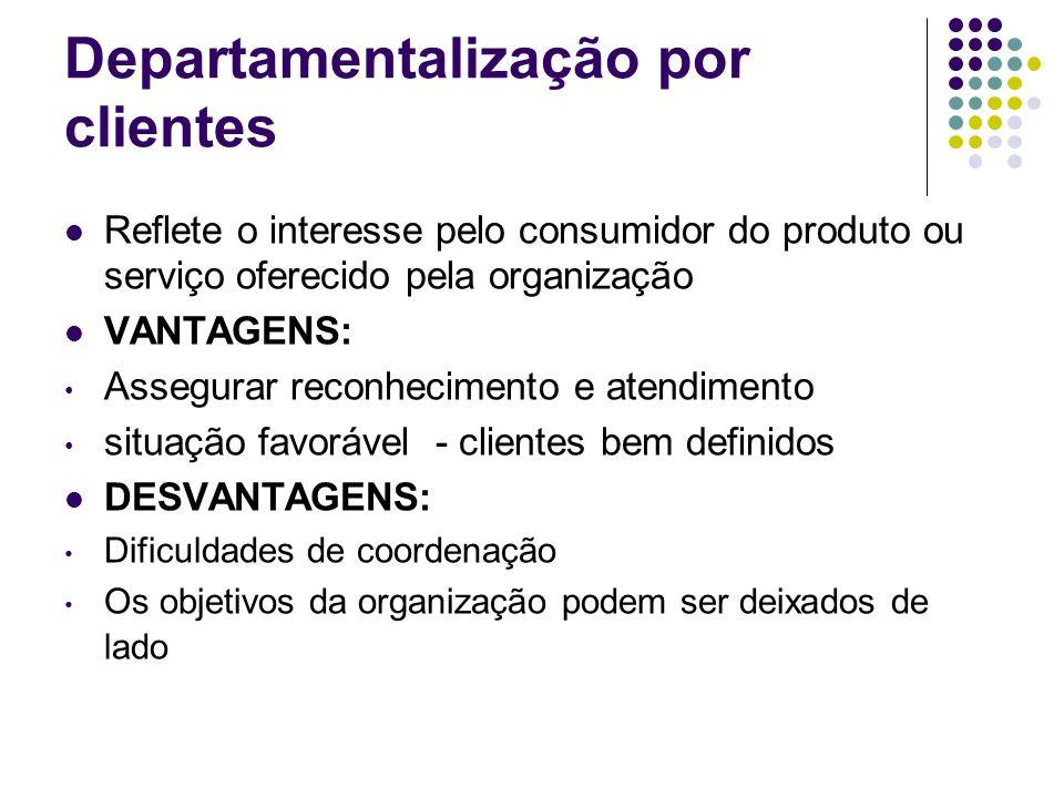 Departamentalização por clientes Reflete o interesse pelo consumidor do produto ou serviço oferecido pela organização VANTAGENS: Assegurar reconhecime