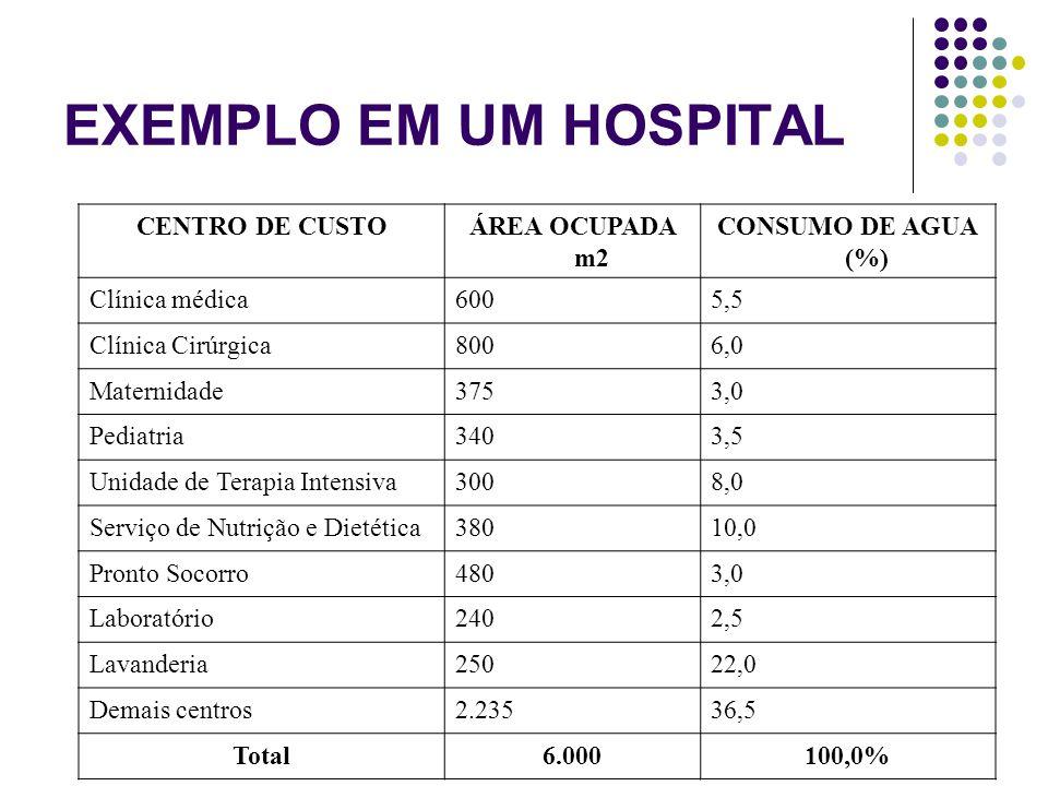 CENTRO DE CUSTOÁREA OCUPADA m2 CONSUMO DE AGUA (%) Clínica médica6005,5 Clínica Cirúrgica8006,0 Maternidade3753,0 Pediatria3403,5 Unidade de Terapia I
