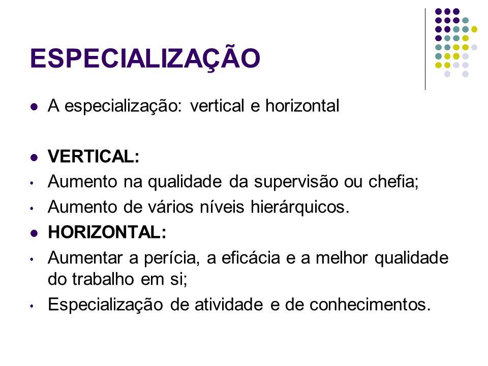 ESPECIALIZAÇÃO A especialização: vertical e horizontal VERTICAL: Aumento na qualidade da supervisão ou chefia; Aumento de vários níveis hierárquicos.