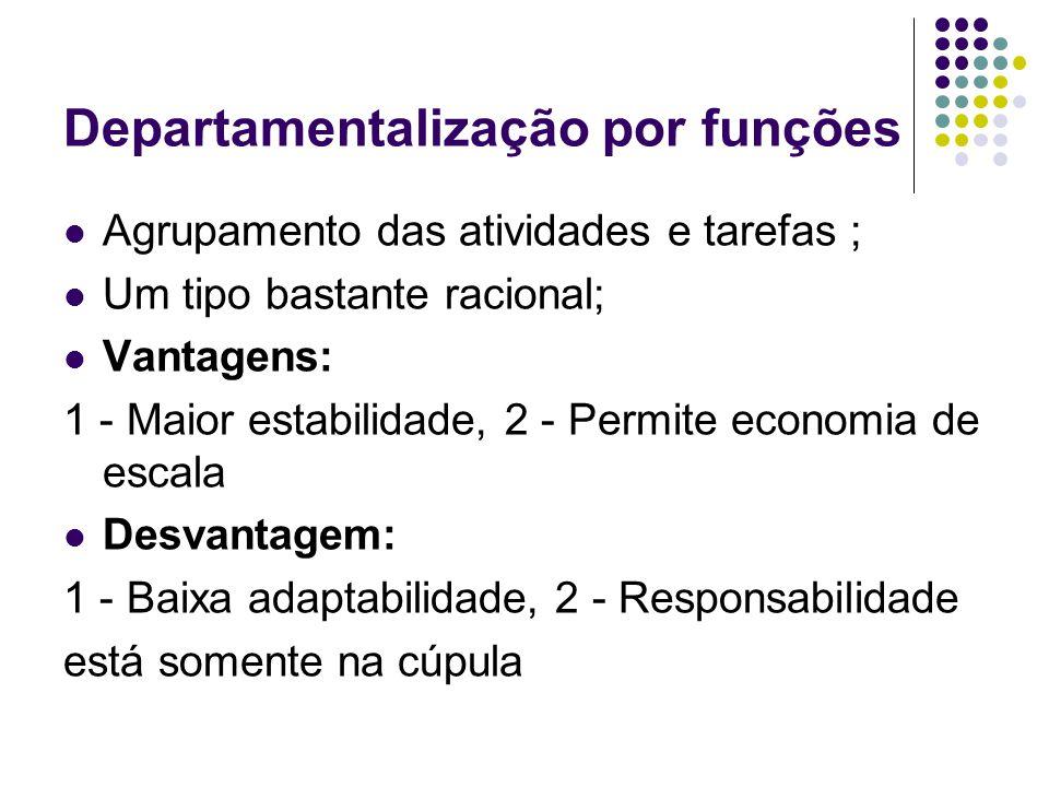 Departamentalização por funções Agrupamento das atividades e tarefas ; Um tipo bastante racional; Vantagens: 1 - Maior estabilidade, 2 - Permite econo