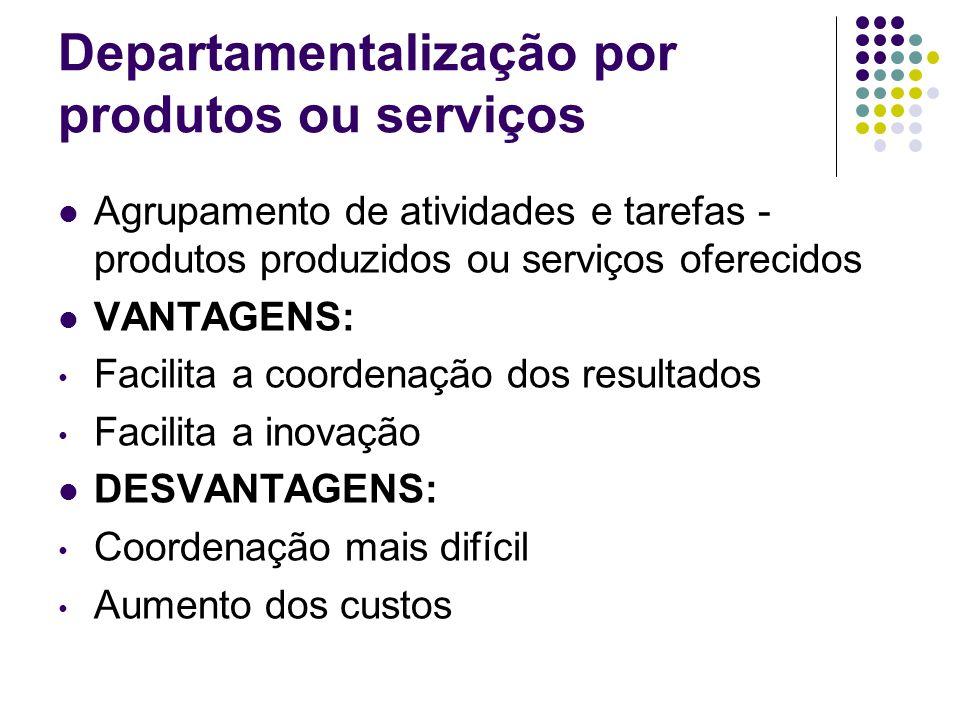 Departamentalização por produtos ou serviços Agrupamento de atividades e tarefas - produtos produzidos ou serviços oferecidos VANTAGENS: Facilita a co