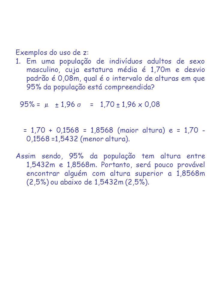 Exemplos do uso de z: 1.Em uma população de indivíduos adultos de sexo masculino, cuja estatura média é 1,70m e desvio padrão é 0,08m, qual é o intervalo de alturas em que 95% da população está compreendida.