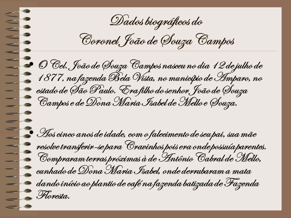 Dados biográficos do Coronel João de Souza Campos O Cel. João de Souza Campos nasceu no dia 12 de julho de 1877, na fazenda Bela Vista, no município d