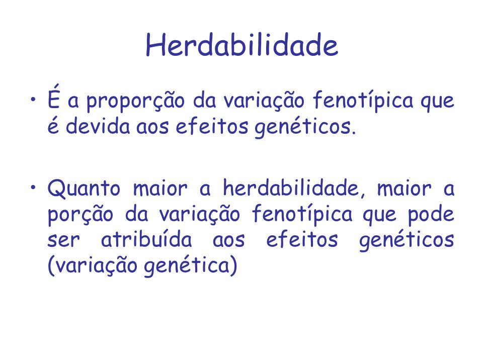Herdabilidade É a proporção da variação fenotípica que é devida aos efeitos genéticos. Quanto maior a herdabilidade, maior a porção da variação fenotí