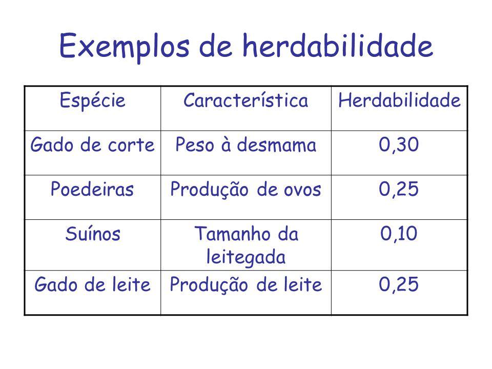 Exemplos de herdabilidade EspécieCaracterísticaHerdabilidade Gado de cortePeso à desmama0,30 PoedeirasProdução de ovos0,25 SuínosTamanho da leitegada