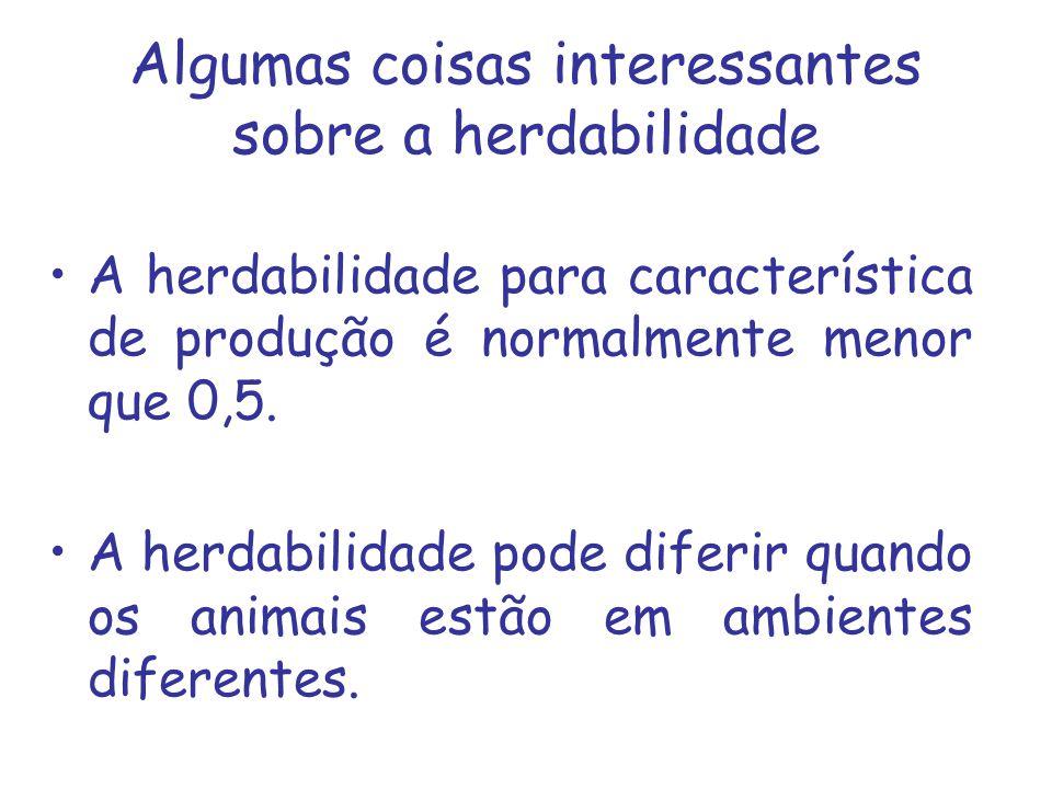 Algumas coisas interessantes sobre a herdabilidade A herdabilidade para característica de produção é normalmente menor que 0,5. A herdabilidade pode d