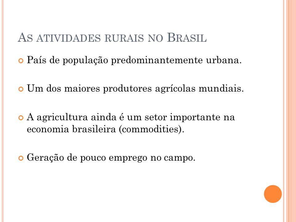 A S ATIVIDADES RURAIS NO B RASIL País de população predominantemente urbana.