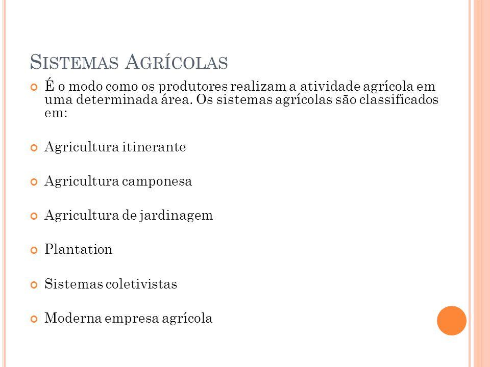 S ISTEMAS A GRÍCOLAS É o modo como os produtores realizam a atividade agrícola em uma determinada área.