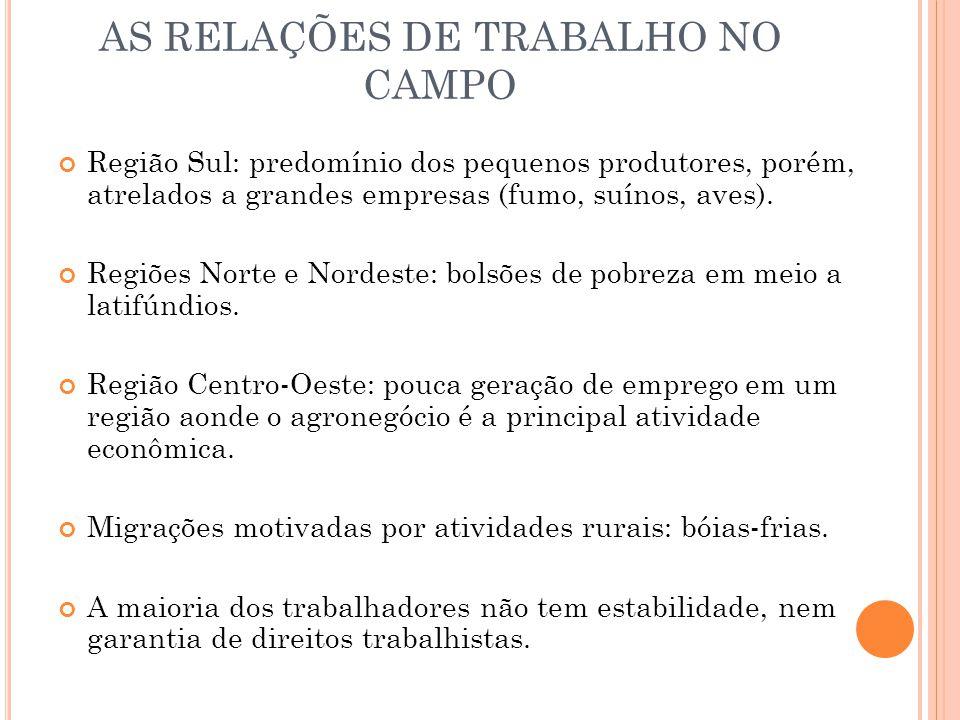 AS RELAÇÕES DE TRABALHO NO CAMPO Região Sul: predomínio dos pequenos produtores, porém, atrelados a grandes empresas (fumo, suínos, aves).