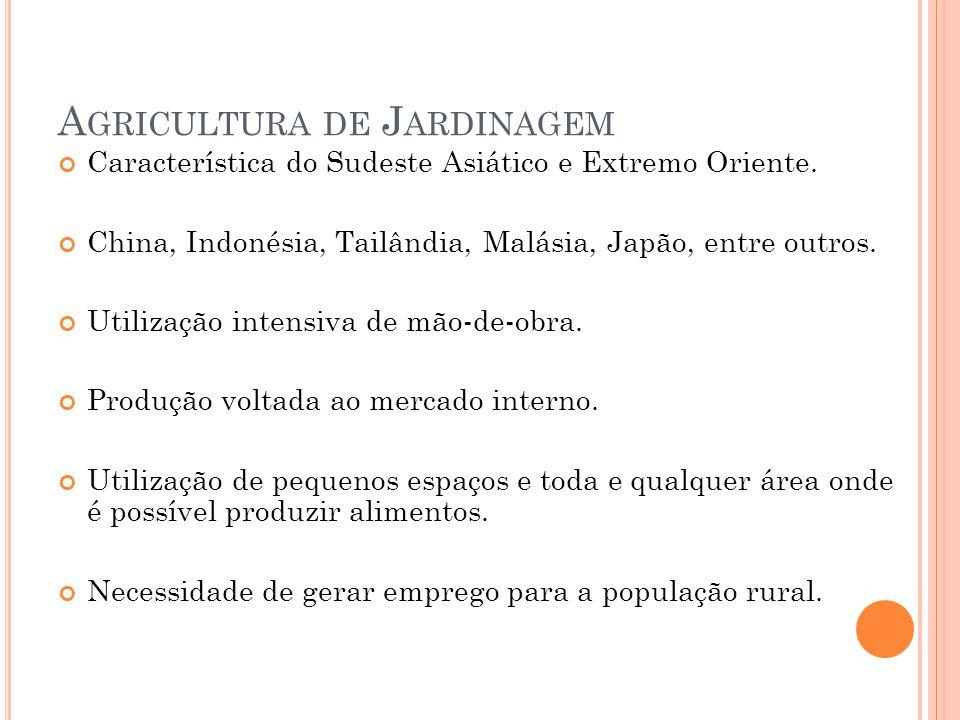 A GRICULTURA DE J ARDINAGEM Característica do Sudeste Asiático e Extremo Oriente.