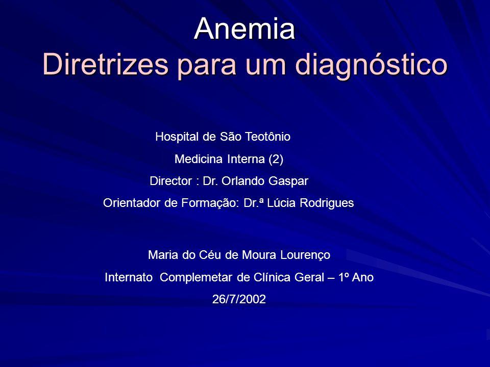 Anemia Classificação Fisiológica (3) VCM (Microcítica) Deficiência de Fe Talassemia Hemoglobina E Anemia sideroblástica Normal VCM (Normocítica) reticulócitos Hemorragia aguda Esplenomegalia Anemia hemolítica reticulócitos Anemia crônica IRC Hepatopatia crônica Doença endócrina Anemia aplástica Anemia mielocítica Displasia dos eritrócitos