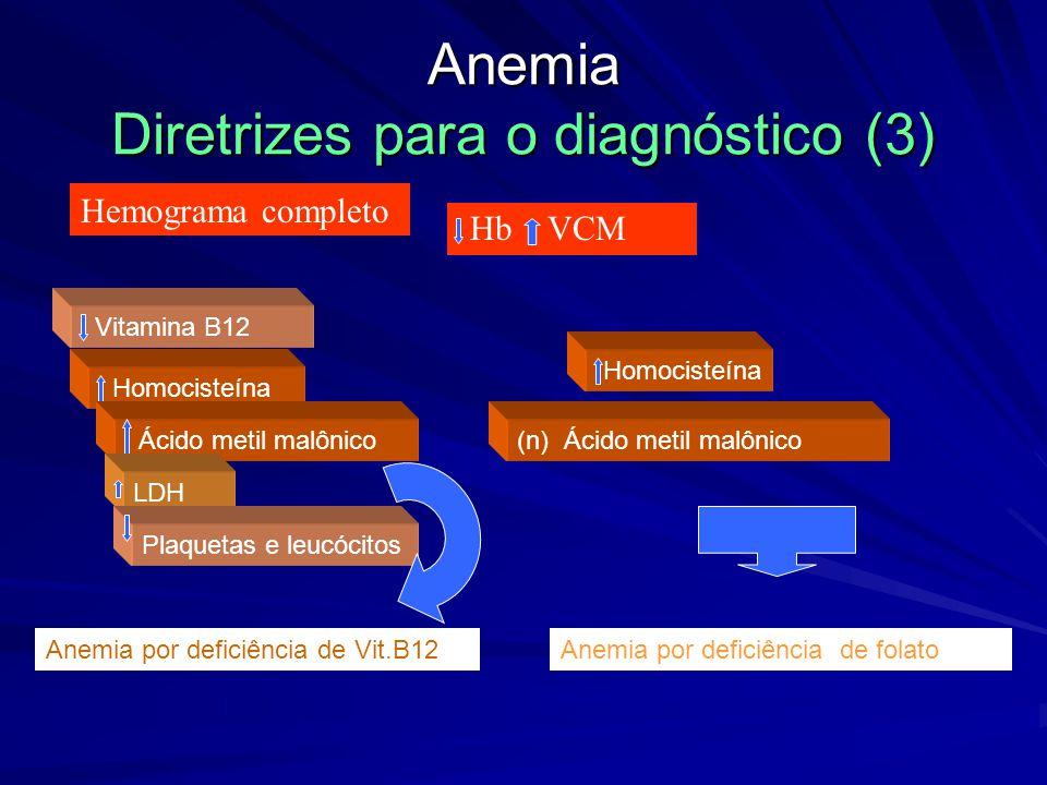 Anemia Diretrizes para o diagnóstico (2) Hemograma completo Hb - normal VCM % Reticulócitos Hemorragia aguda Esplenomegalia Anemia crônica; Insuficiên