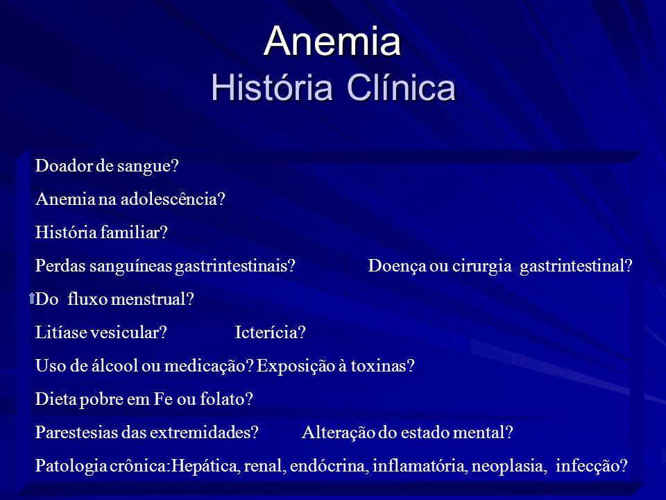 Anemia Diretrizes para o diagnóstico (2) Hemograma completo Hb - normal VCM % Reticulócitos Hemorragia aguda Esplenomegalia Anemia crônica; Insuficiência renal crônica Hepatopatia crônica; Doença endócrina LDH Teste de Coombs direto (+) Bilirrubina indireta Esfregaço anormal Haptoglobina Anemia hemolítica Ferro Saturação de transferrina /n Ferritina n/ TIBC Anemia aplástica Anemia mielocítica Displasia dos eritrócitos Biópsia medular –Pancitopenia Esfregaço medular - infiltração