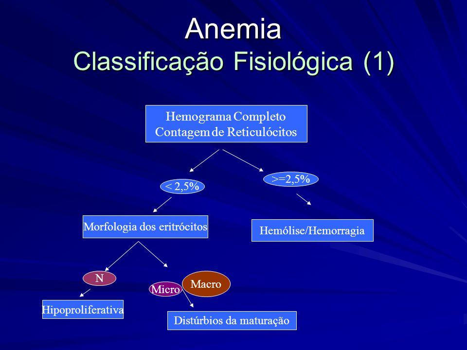 Anemia Classificação Fisiológica (1) Hemograma Completo Contagem de Reticulócitos < 2,5% >=2,5% Morfologia dos eritrócitos N Hipoproliferativa Distúrbios da maturação Hemólise/Hemorragia Micro Macro