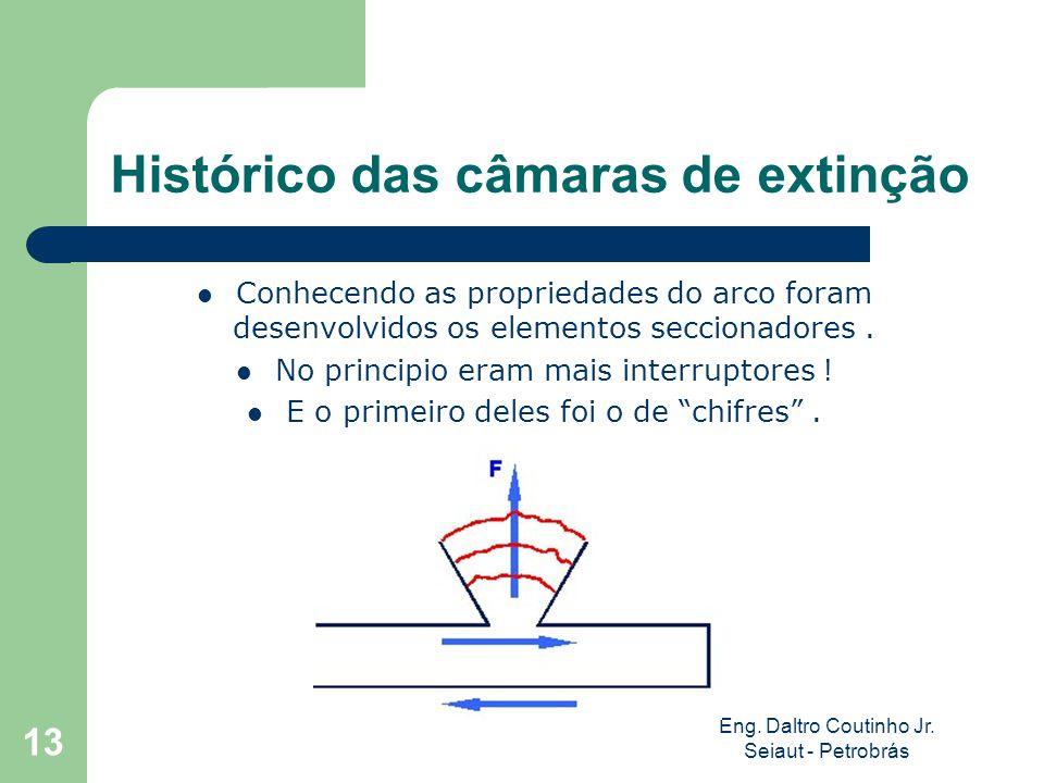 Eng. Daltro Coutinho Jr. Seiaut - Petrobrás 13 Histórico das câmaras de extinção Conhecendo as propriedades do arco foram desenvolvidos os elementos s