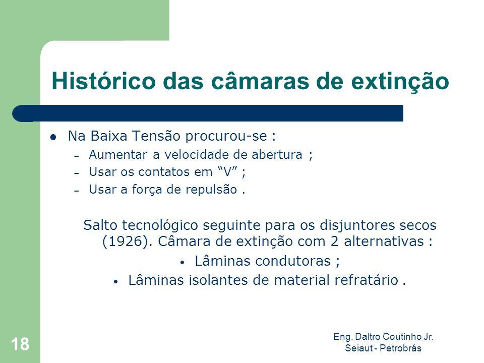 Eng. Daltro Coutinho Jr. Seiaut - Petrobrás 18 Histórico das câmaras de extinção Na Baixa Tensão procurou-se : – Aumentar a velocidade de abertura ; –