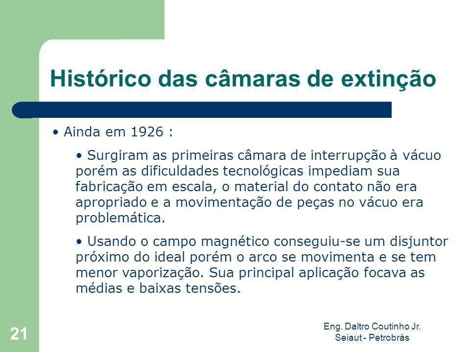 Eng. Daltro Coutinho Jr. Seiaut - Petrobrás 21 Histórico das câmaras de extinção Ainda em 1926 : Surgiram as primeiras câmara de interrupção à vácuo p