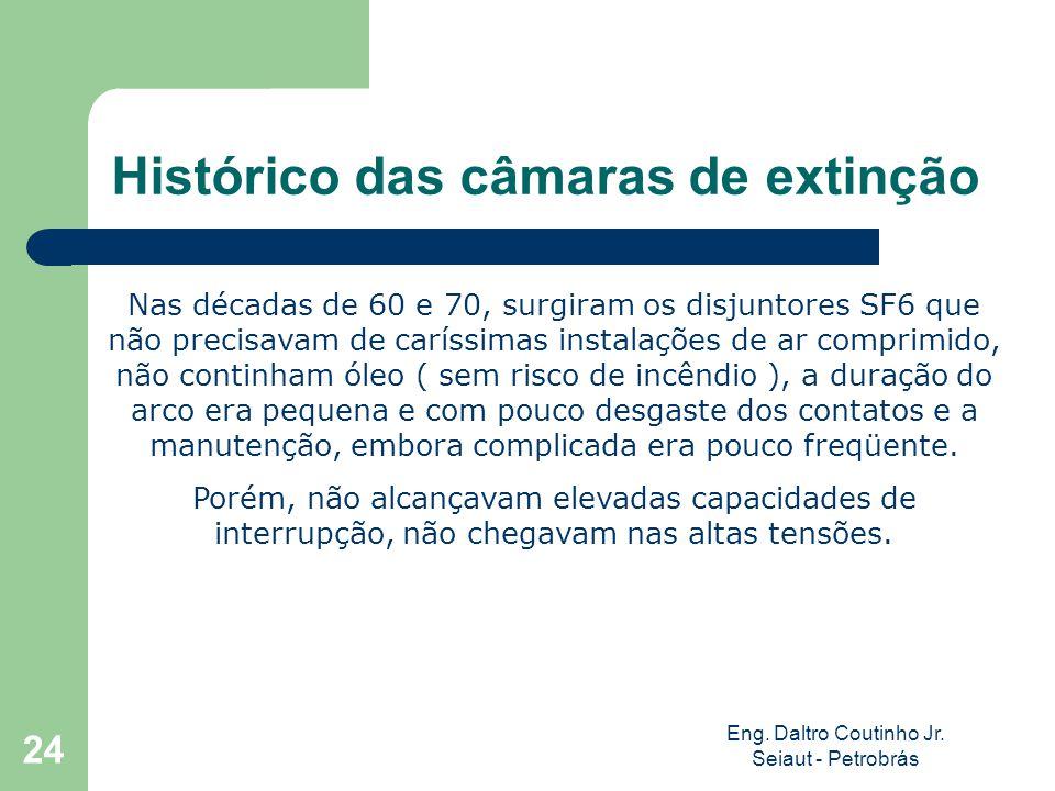 Eng. Daltro Coutinho Jr. Seiaut - Petrobrás 24 Histórico das câmaras de extinção Nas décadas de 60 e 70, surgiram os disjuntores SF6 que não precisava