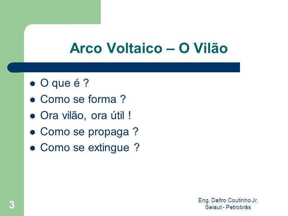 Eng. Daltro Coutinho Jr. Seiaut - Petrobrás 3 Arco Voltaico – O Vilão O que é ? Como se forma ? Ora vilão, ora útil ! Como se propaga ? Como se exting