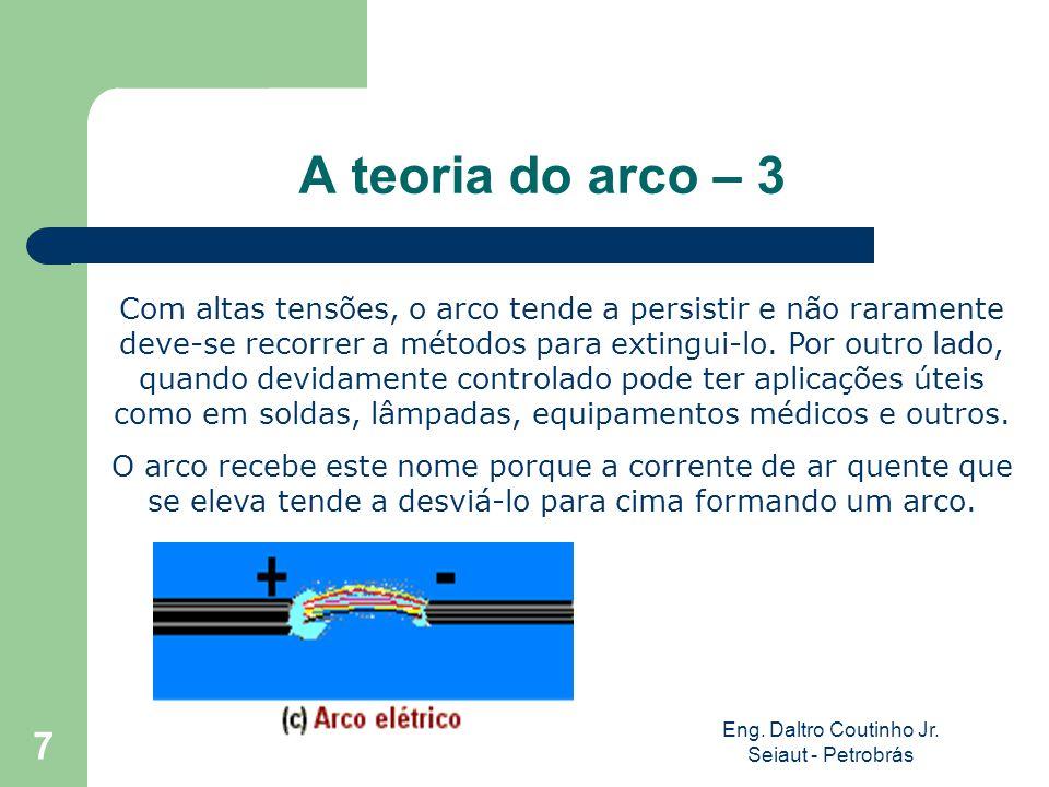 Eng. Daltro Coutinho Jr. Seiaut - Petrobrás 7 A teoria do arco – 3 Com altas tensões, o arco tende a persistir e não raramente deve-se recorrer a méto