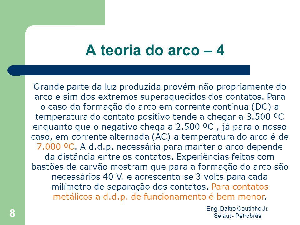 Eng. Daltro Coutinho Jr. Seiaut - Petrobrás 8 A teoria do arco – 4 Grande parte da luz produzida provém não propriamente do arco e sim dos extremos su