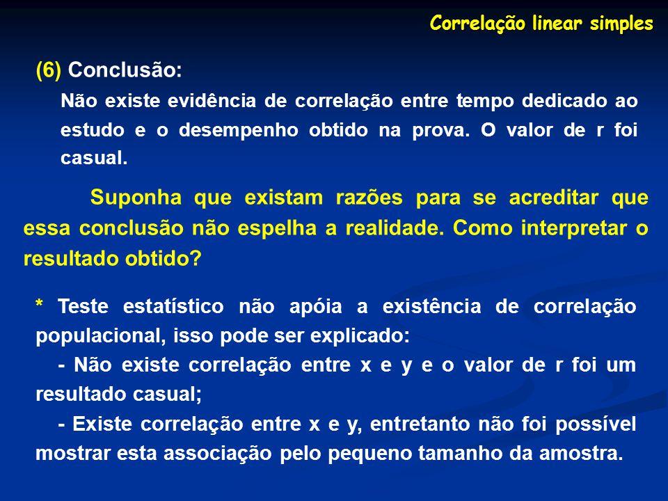 (6) Conclusão: Não existe evidência de correlação entre tempo dedicado ao estudo e o desempenho obtido na prova. O valor de r foi casual. Correlação l