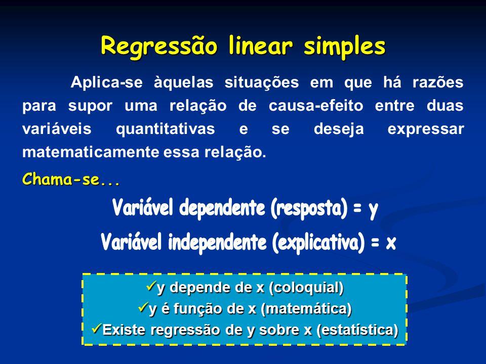 Regressão linear simples Aplica-se àquelas situações em que há razões para supor uma relação de causa-efeito entre duas variáveis quantitativas e se d