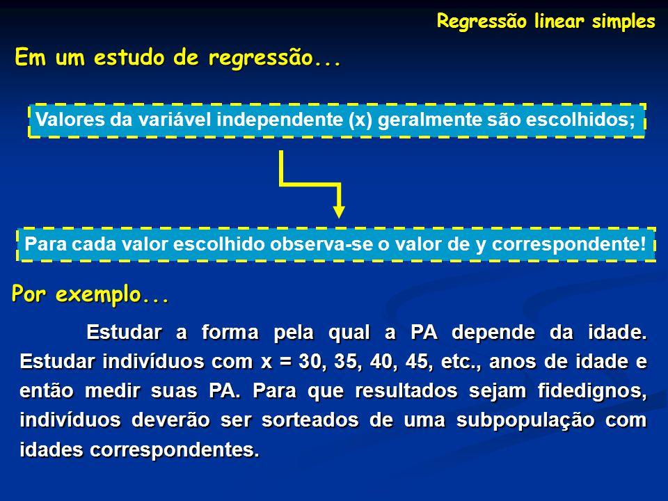 Regressão linear simples Em um estudo de regressão... Valores da variável independente (x) geralmente são escolhidos; Para cada valor escolhido observ
