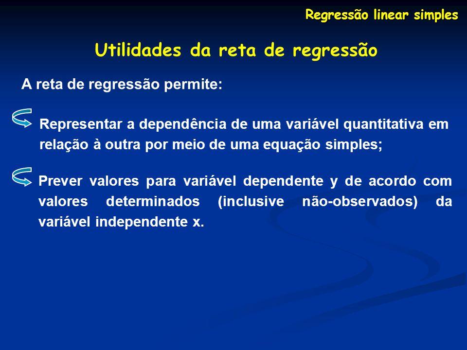 Utilidades da reta de regressão A reta de regressão permite: Representar a dependência de uma variável quantitativa em relação à outra por meio de uma equação simples; Prever valores para variável dependente y de acordo com valores determinados (inclusive não-observados) da variável independente x.