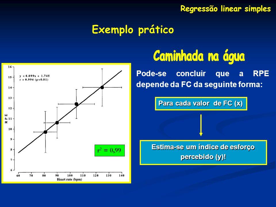 Regressão linear simples Exemplo prático Pode-se concluir que a RPE depende da FC da seguinte forma: Para cada valor de FC (x) Estima-se um índice de esforço percebido (y).