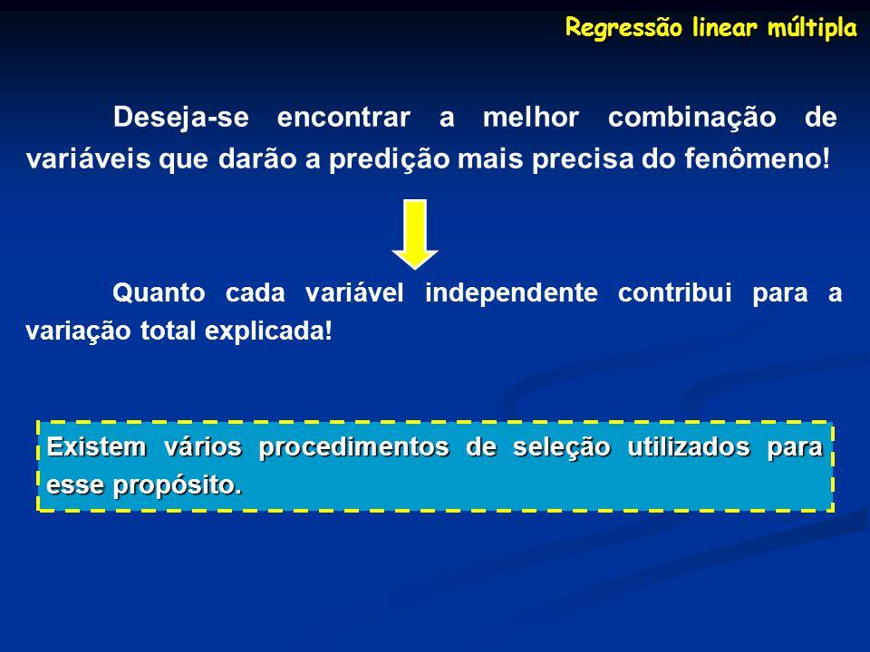 Regressão linear múltipla Deseja-se encontrar a melhor combinação de variáveis que darão a predição mais precisa do fenômeno! Quanto cada variável ind