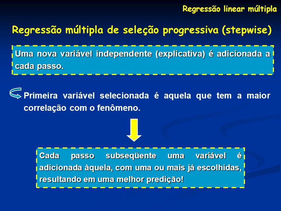 Regressão linear múltipla Regressão múltipla de seleção progressiva (stepwise) Uma nova variável independente (explicativa) é adicionada a cada passo.