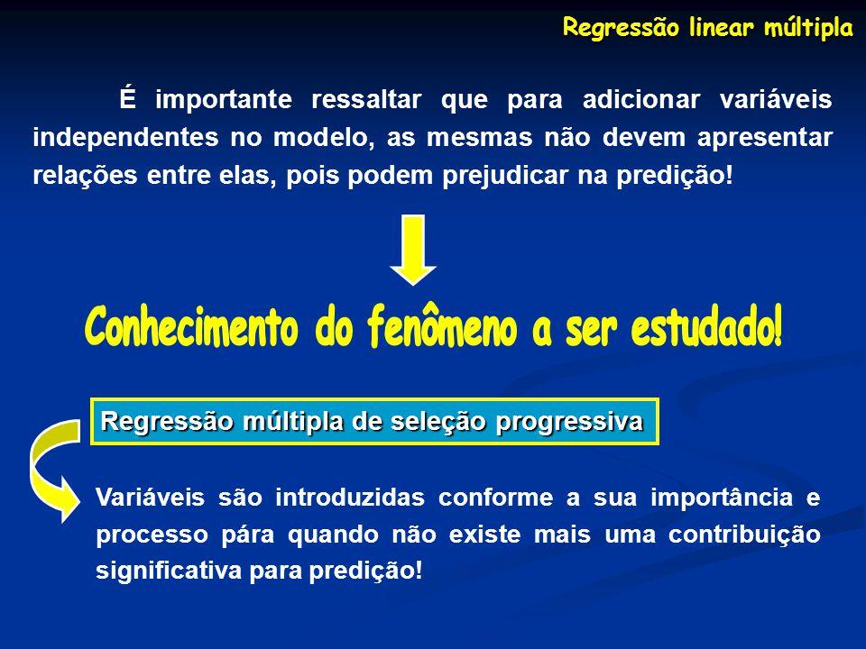 Regressão linear múltipla É importante ressaltar que para adicionar variáveis independentes no modelo, as mesmas não devem apresentar relações entre elas, pois podem prejudicar na predição.
