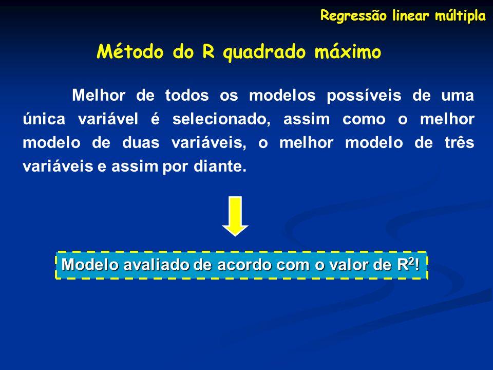 Regressão linear múltipla Método do R quadrado máximo Melhor de todos os modelos possíveis de uma única variável é selecionado, assim como o melhor modelo de duas variáveis, o melhor modelo de três variáveis e assim por diante.