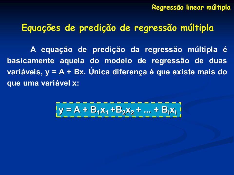 Regressão linear múltipla Equações de predição de regressão múltipla A equação de predição da regressão múltipla é basicamente aquela do modelo de regressão de duas variáveis, y = A + Bx.