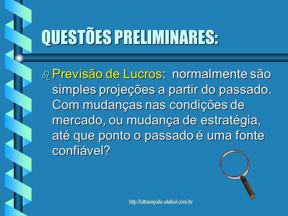 http://ultrarapida.vilabol.com.br QUESTÕES PRELIMINARES: b Previsão de Lucros: normalmente são simples projeções a partir do passado. Com mudanças nas