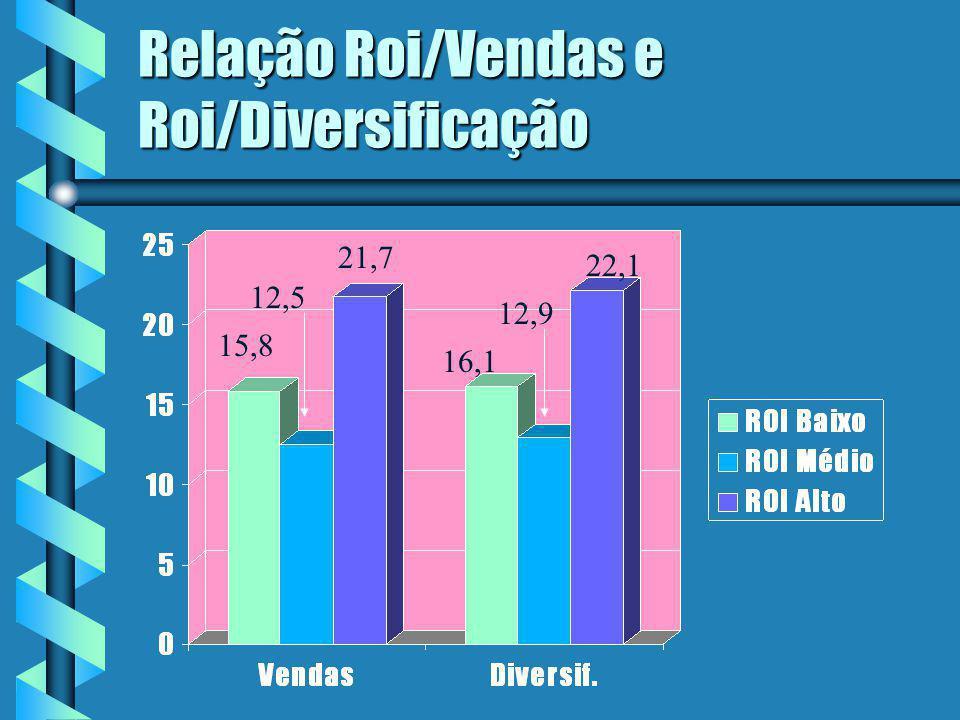Relação Roi/Vendas e Roi/Diversificação 15,8 21,7 12,5 16,1 12,9 22,1