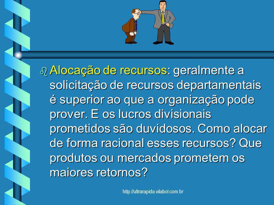 http://ultrarapida.vilabol.com.br Alocação de recursos: geralmente a solicitação de recursos departamentais é superior ao que a organização pode prove