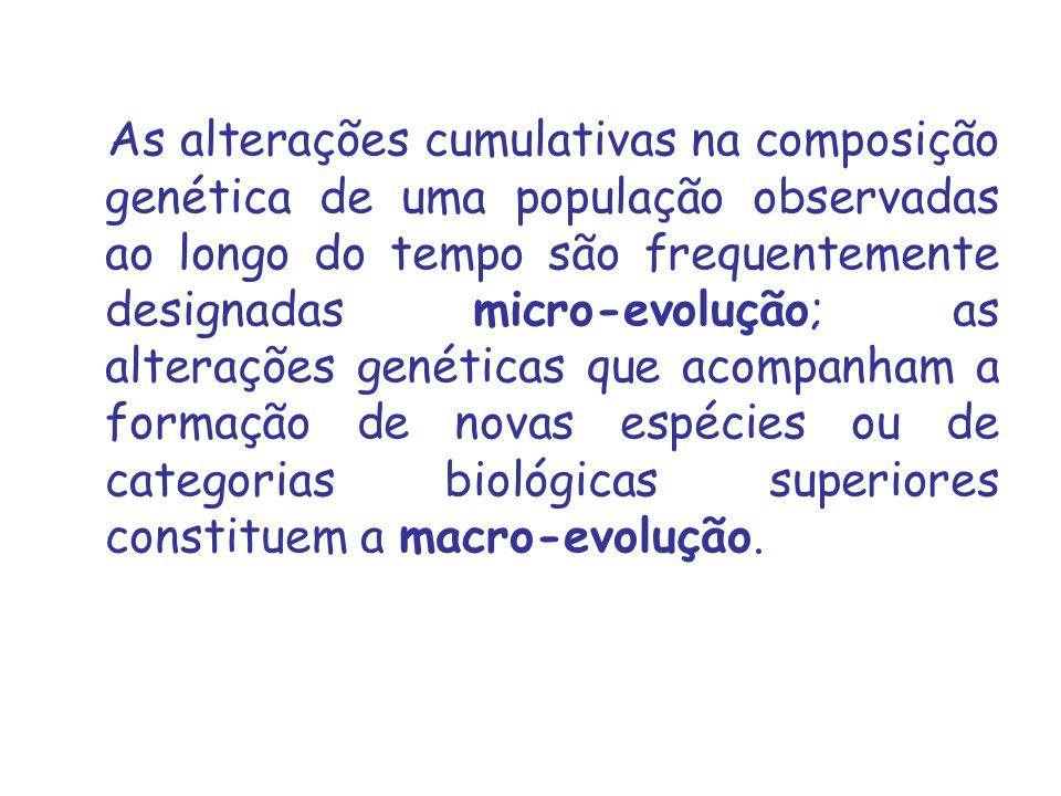 As alterações cumulativas na composição genética de uma população observadas ao longo do tempo são frequentemente designadas micro evolução; as alterações genéticas que acompanham a formação de novas espécies ou de categorias biológicas superiores constituem a macro evolução.