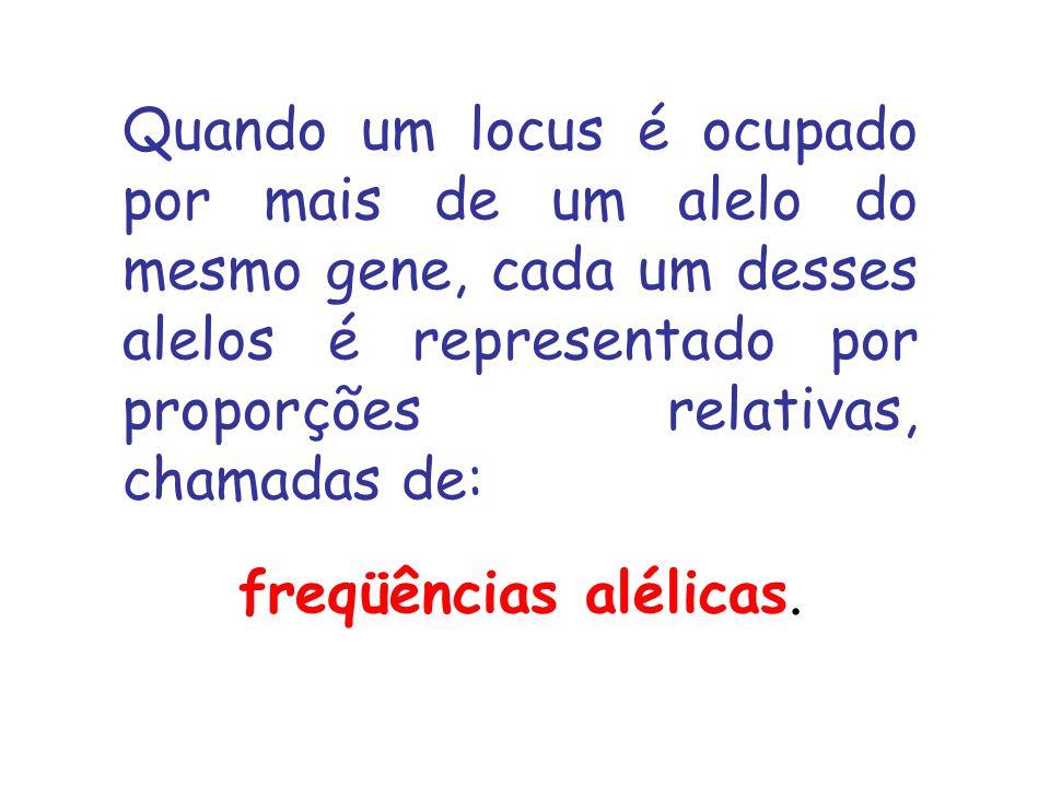 Quando um locus é ocupado por mais de um alelo do mesmo gene, cada um desses alelos é representado por proporções relativas, chamadas de: freqüências alélicas.
