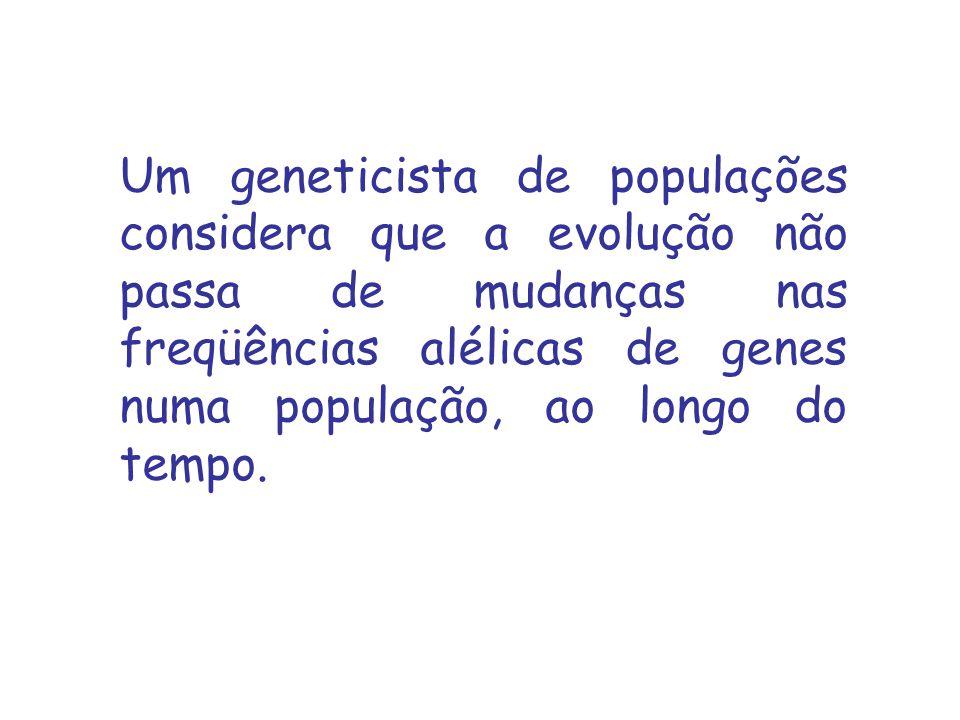 Um geneticista de populações considera que a evolução não passa de mudanças nas freqüências alélicas de genes numa população, ao longo do tempo.