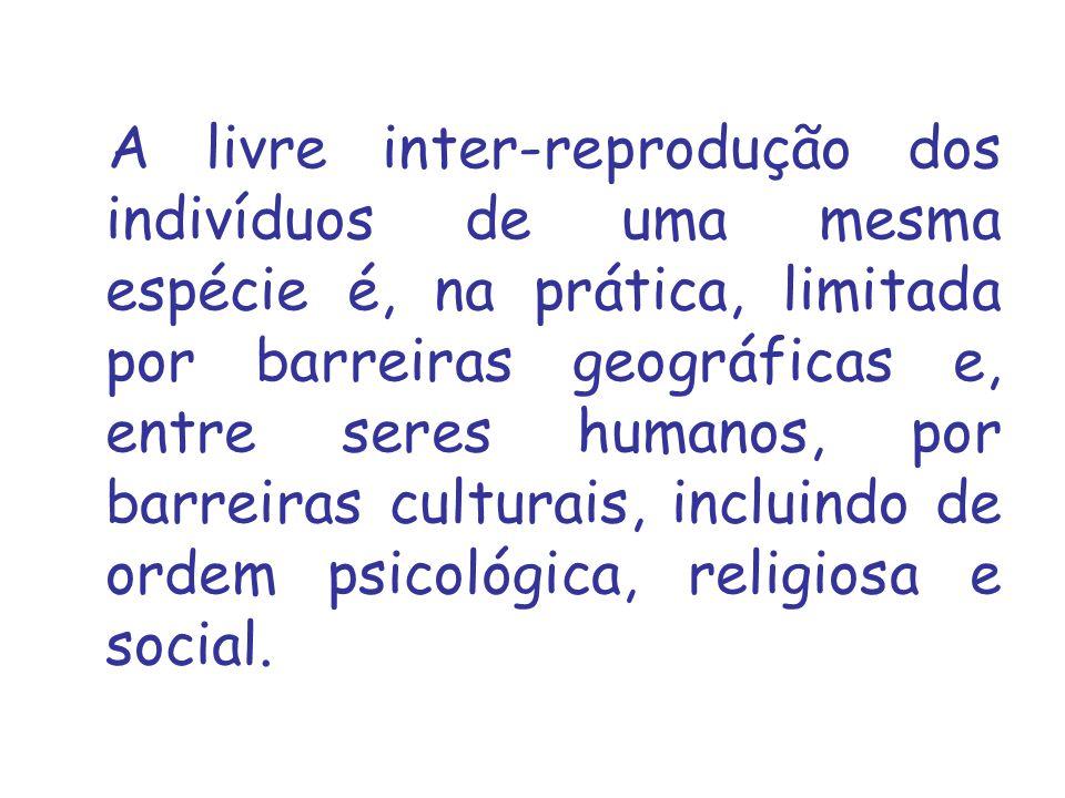 A livre inter reprodução dos indivíduos de uma mesma espécie é, na prática, limitada por barreiras geográficas e, entre seres humanos, por barreiras culturais, incluindo de ordem psicológica, religiosa e social.