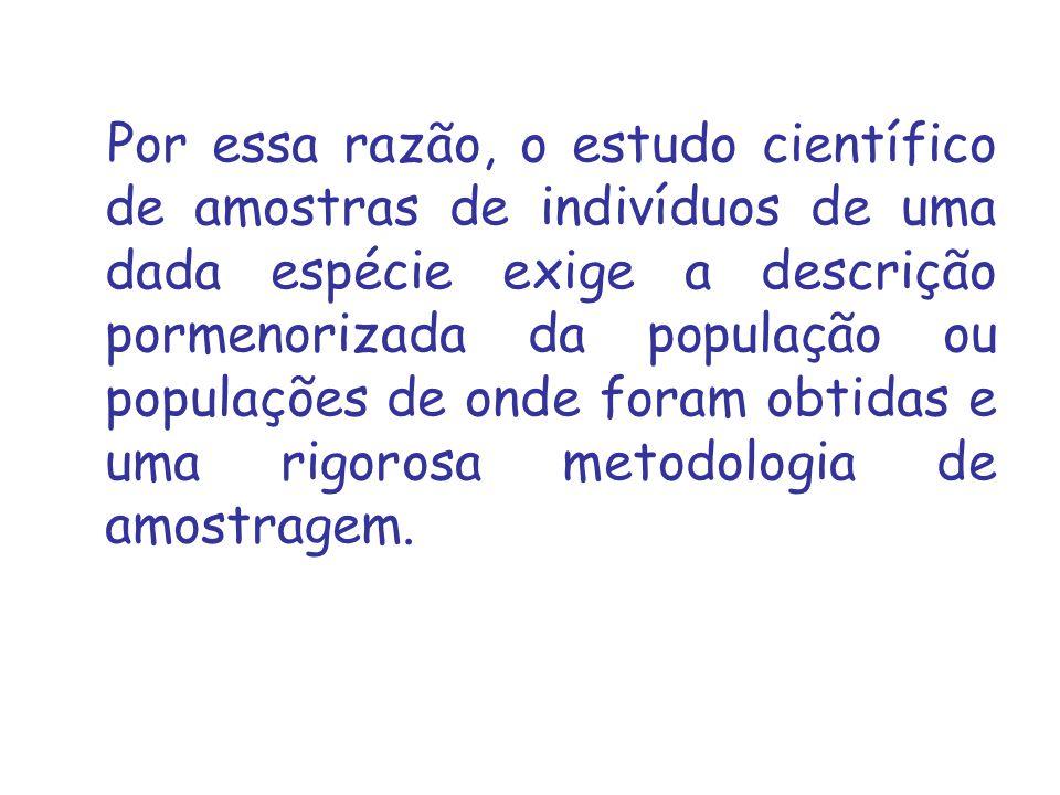 Por essa razão, o estudo científico de amostras de indivíduos de uma dada espécie exige a descrição pormenorizada da população ou populações de onde foram obtidas e uma rigorosa metodologia de amostragem.
