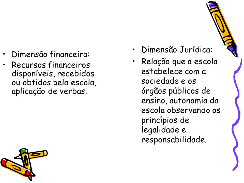Dimensão financeira: Recursos financeiros disponíveis, recebidos ou obtidos pela escola, aplicação de verbas. Dimensão Jurídica: Relação que a escola