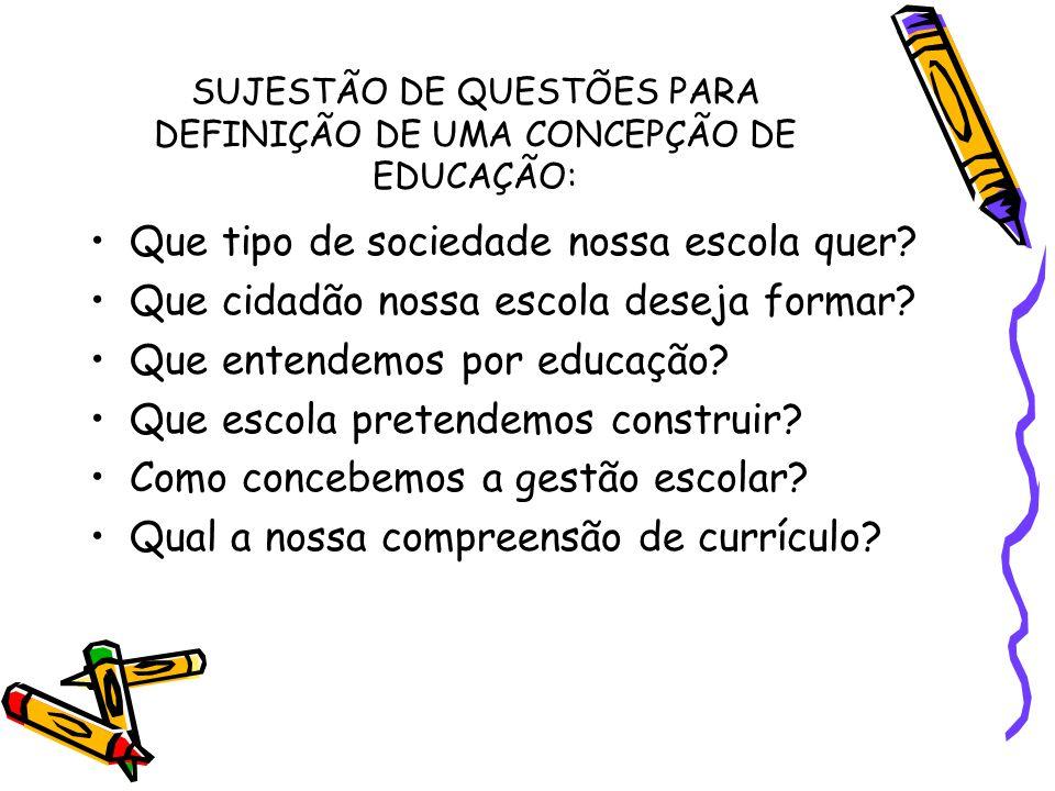 SUJESTÃO DE QUESTÕES PARA DEFINIÇÃO DE UMA CONCEPÇÃO DE EDUCAÇÃO: Que tipo de sociedade nossa escola quer? Que cidadão nossa escola deseja formar? Que