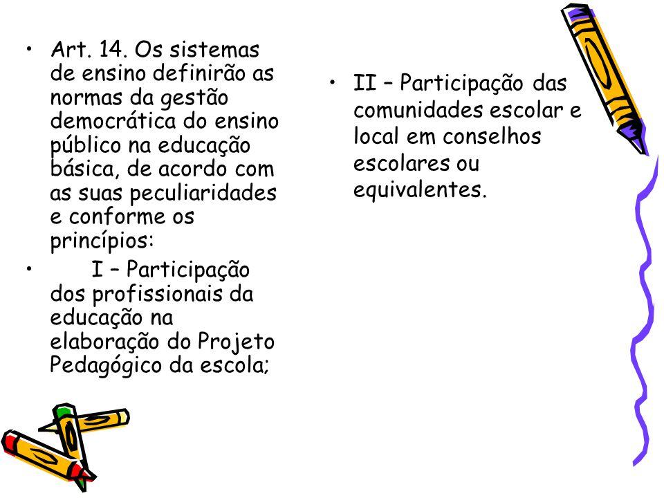 Art. 14. Os sistemas de ensino definirão as normas da gestão democrática do ensino público na educação básica, de acordo com as suas peculiaridades e