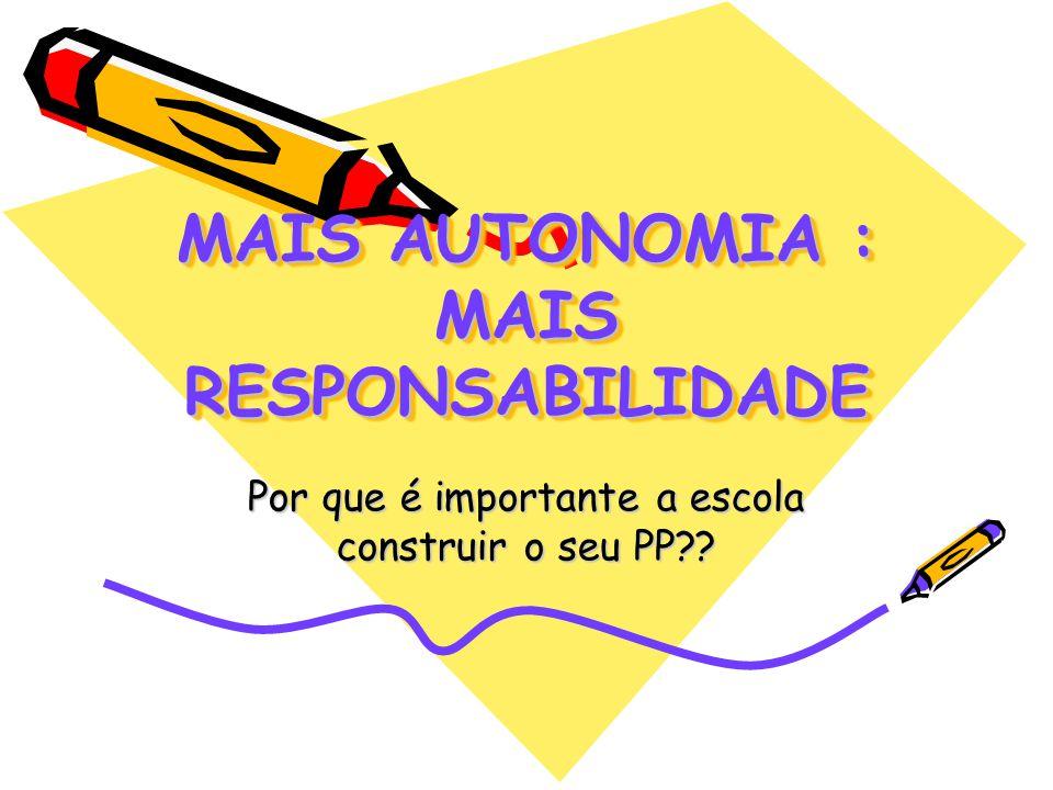 MAIS AUTONOMIA : MAIS RESPONSABILIDADE Por que é importante a escola construir o seu PP??