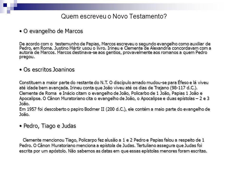 O evangelho de Marcos O evangelho de Marcos De acordo com o testemunho de Papias, Marcos escreveu o segundo evangelho como auxiliar de Pedro, em Roma.
